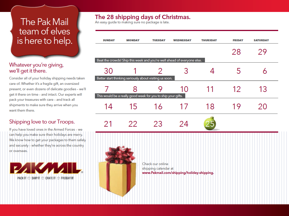 2014 Pak Mail Holiday Shipping Guide