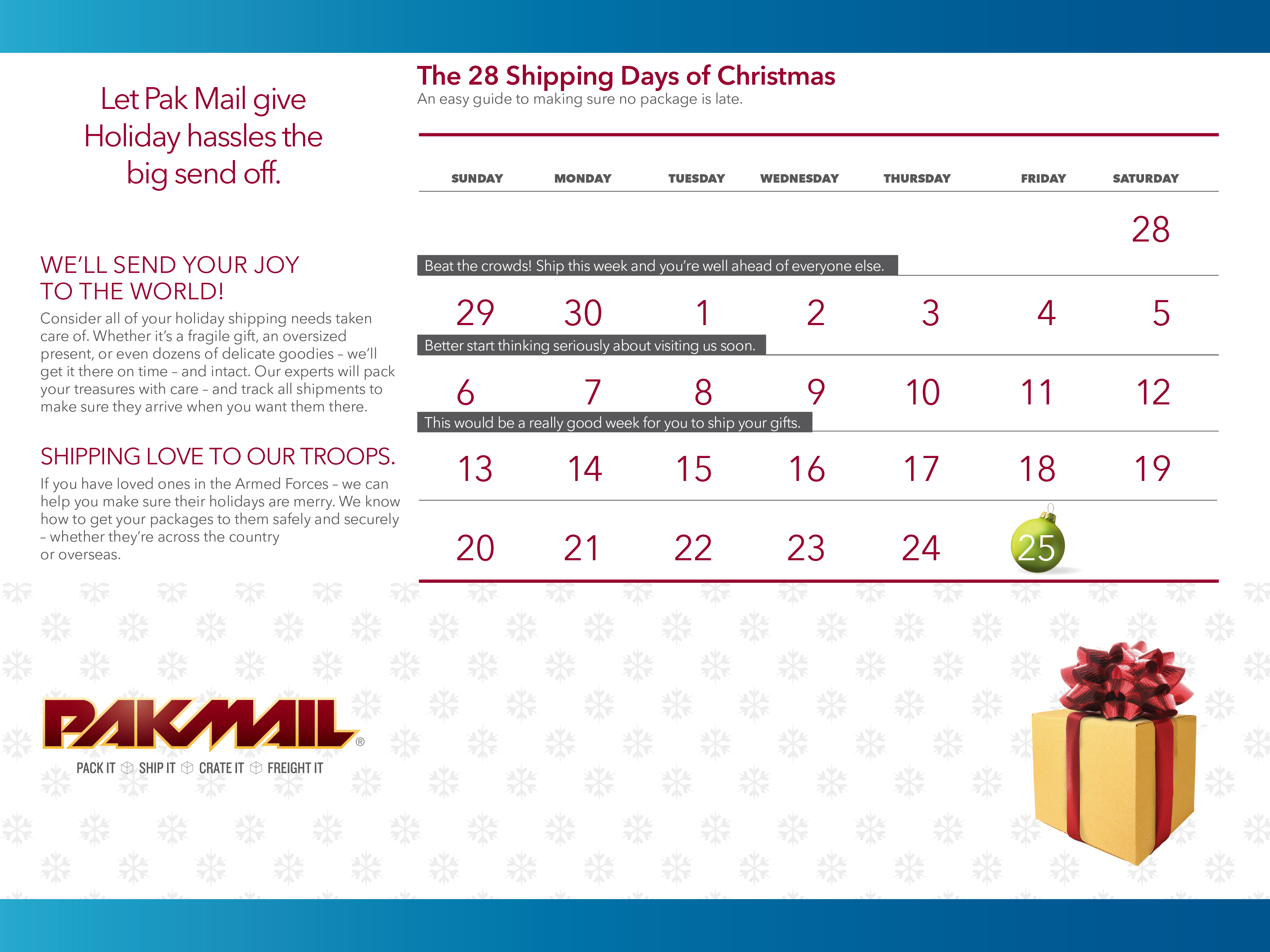 Holiday Shipping Deadlines Calendar | Pak Mail Shipping Solutions